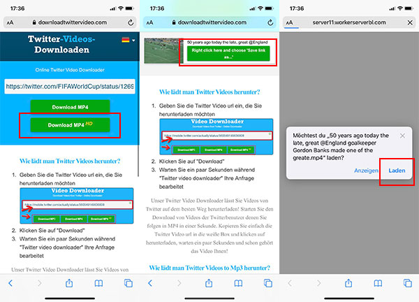 Twitter-Video auf iPhone runterladen