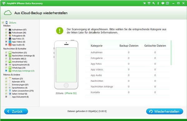 Selektive iPhone Backup wiederherstellen