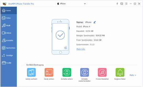 iPhone mit iPhone Transfer Pro verbinden