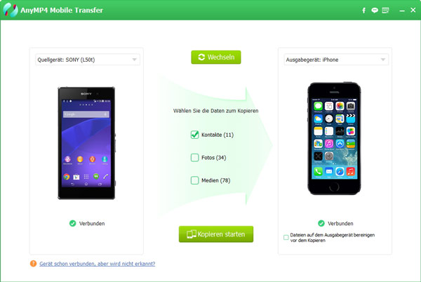 kontakte von android auf iphone nachträglich übertragen