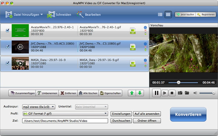 AnyMP4 Video zu GIF Converter für Mac