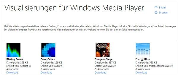 Windows Media Player Plugin - Visualisierung